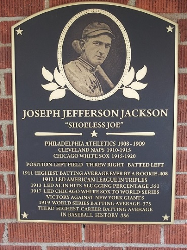 Shoeless Joe Jackson Hall of Fame plaque