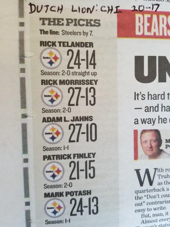 Chicago Sun-Times Bears-Steelers picks