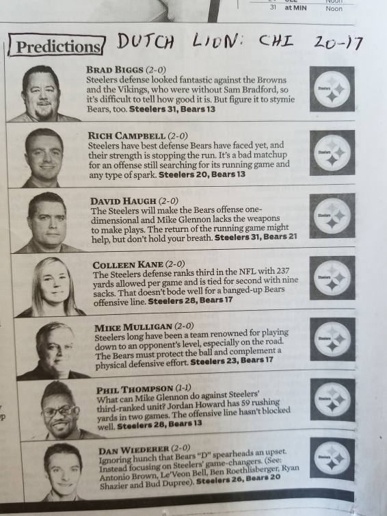Chicago Tribune's Bears-Steelers picks2