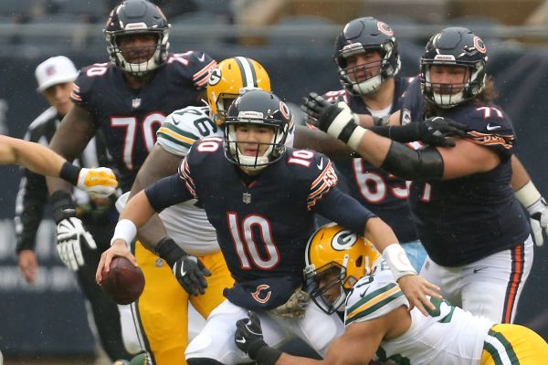 Trubisky getting sacked by Packers