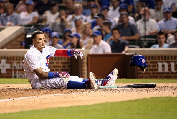 Javy Baez striking out
