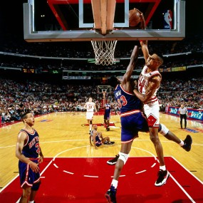 The famous Pippen over Ewing dunk!