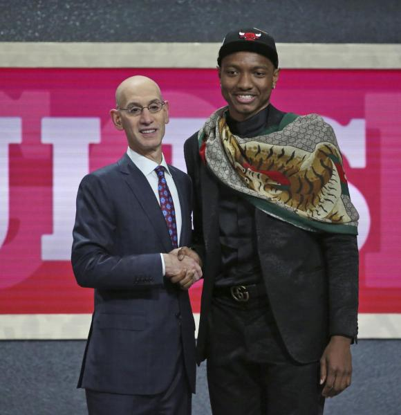 Wendell Carter at NBA Draft with Adam Silver