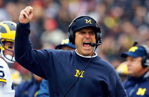 Jim Harbaugh celebrating