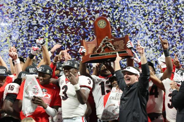 Georgia celebrating SEC Championship
