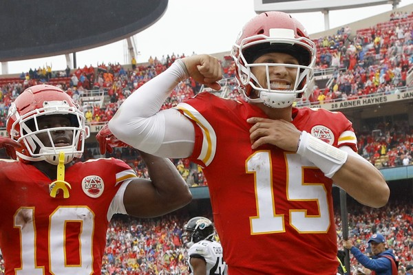 Patrick Mahomes celebrating